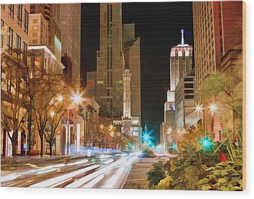 Chicago Michigan Avenue Light Streak Wood Print by Christopher Arndt