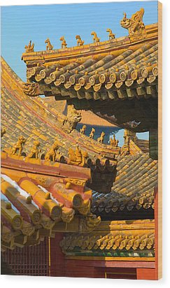 China Forbidden City Roof Decoration Wood Print by Sebastian Musial