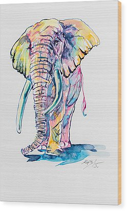 Colorful Elephant Wood Print by Kovacs Anna Brigitta