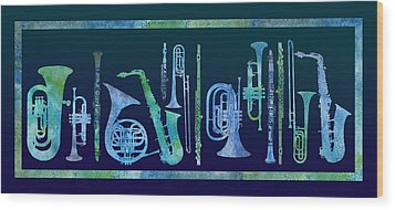 Cool Blue Band Wood Print by Jenny Armitage