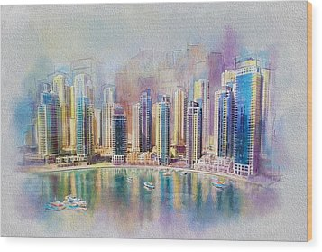 Downtown Dubai Skyline Wood Print by Corporate Art Task Force
