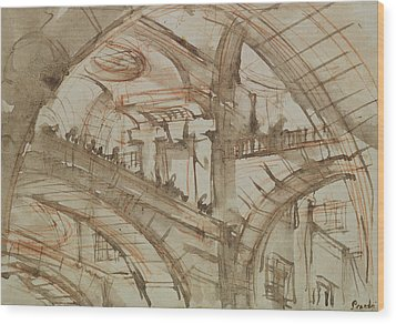 Drawing Of An Imaginary Prison Wood Print by Giovanni Battista Piranesi
