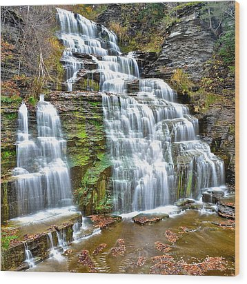 Finger Lakes Waterfall Wood Print by Frozen in Time Fine Art Photography