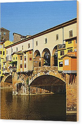 Florence Italy Ponte Vecchio Wood Print by Irina Sztukowski