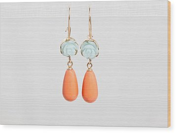 Free Shipping Idit Stern Roses And Pearls Earrings Wood Print by Idit Stern