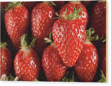 Gariguette Strawberries Wood Print by Aberration Films Ltd