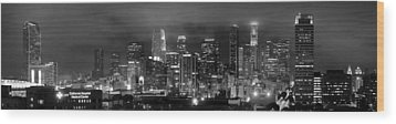 Gotham City - Los Angeles Skyline Downtown At Night Wood Print by Jon Holiday