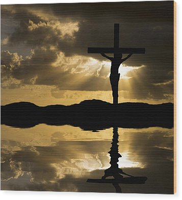 Jesus Christ Crucifixion On Good Friday Silhouette Reflected In  Wood Print by Matthew Gibson