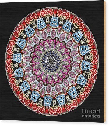 Kaleidoscope Colorful Jeweled Rhinestones Wood Print by Amy Cicconi