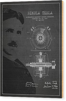 Nikola Tesla Patent From 1891 Wood Print by Aged Pixel