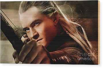 Orlando Bloom Wood Print by Marvin Blaine