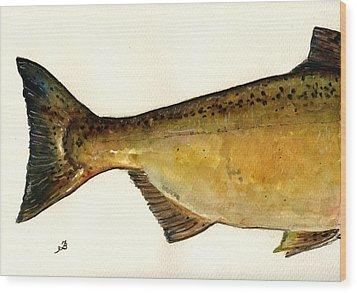 2 Part Chinook King Salmon Wood Print by Juan  Bosco