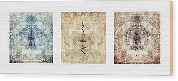 Prayer Flag Triptych Wood Print by Carol Leigh