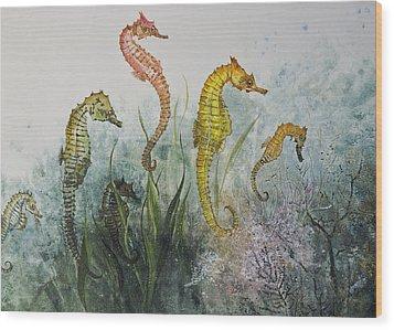 Sea Horses Wood Print by Nancy Gorr