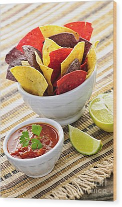 Tortilla Chips And Salsa Wood Print by Elena Elisseeva