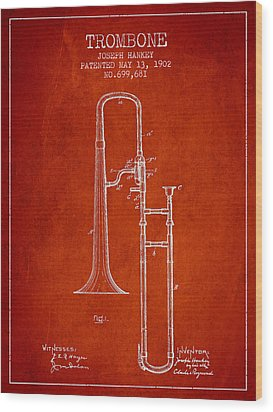 Trombone Patent From 1902 - Red Wood Print by Aged Pixel