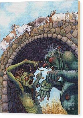 2 Ugly Trolls Wood Print by Isabella Kung