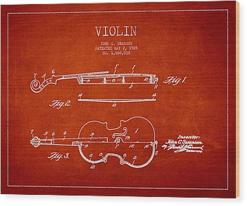 Vintage Violin Patent Drawing From 1928 Wood Print by Aged Pixel