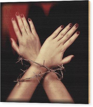 Barbed Wire Wood Print by Joana Kruse