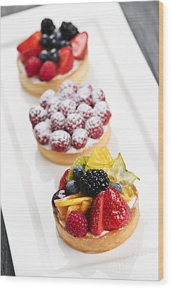 Fruit Tarts Wood Print by Elena Elisseeva