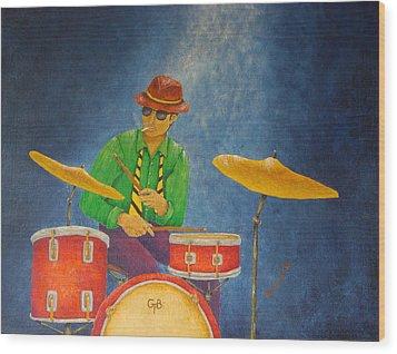 Jazz Drummer Wood Print by Pamela Allegretto