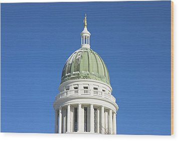 Maine State Capitol Building In Augusta Wood Print by Keith Webber Jr