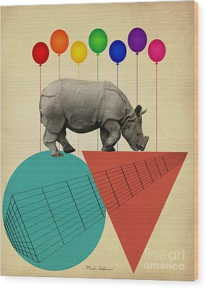Rhino Wood Print by Mark Ashkenazi
