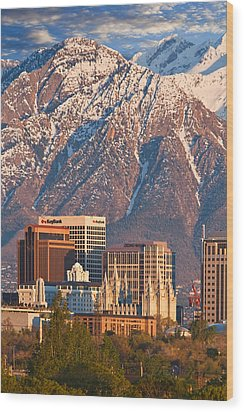 Salt Lake City Skyline Wood Print by Utah Images