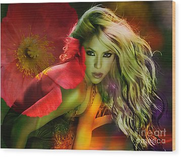 Shakira Wood Print by Marvin Blaine