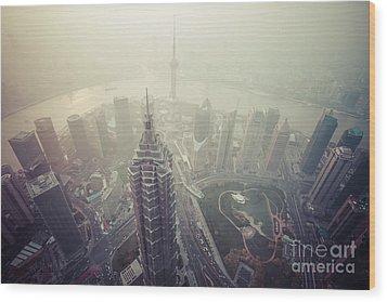 Shanghai Pudong Skyline Wood Print by Fototrav Print