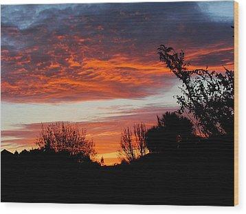 Sunset New Zealand Wood Print by Joyce Woodhouse