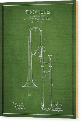 Trombone Patent From 1902 - Green Wood Print by Aged Pixel