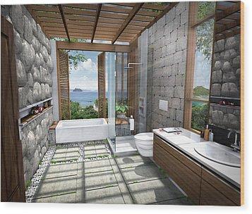 3d Tropical Bathroom Wood Print by Thanes