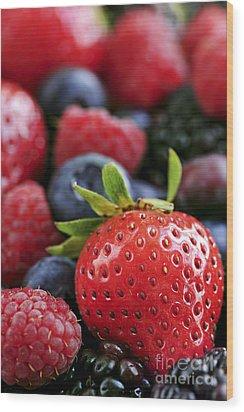 Assorted Fresh Berries Wood Print by Elena Elisseeva