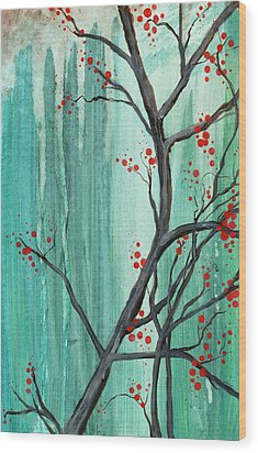 Cherry Tree  Wood Print by Carrie Jackson