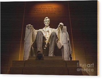 Lincoln Memorial At Night - Washington D.c. Wood Print by Gary Whitton