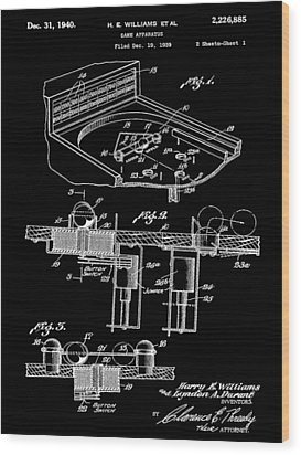 Pinball Machine Patent 1939 - Black Wood Print by Stephen Younts