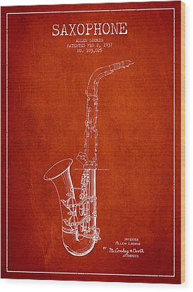 Saxophone Patent Drawing From 1937 - Red Wood Print by Aged Pixel