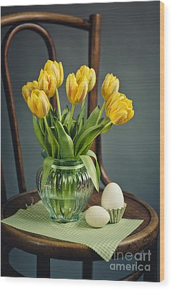 Still Life With Yellow Tulips Wood Print by Nailia Schwarz