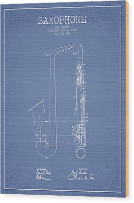 Saxophone Patent Drawing From 1899 - Light Blue Wood Print by Aged Pixel