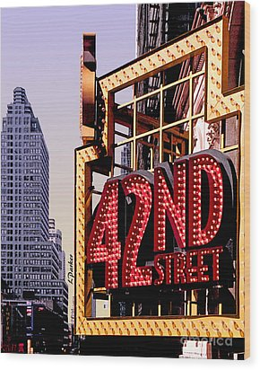 42nd Street New York City Wood Print by Linda  Parker
