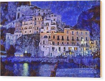 Amalfi Town In Italy Wood Print by George Atsametakis