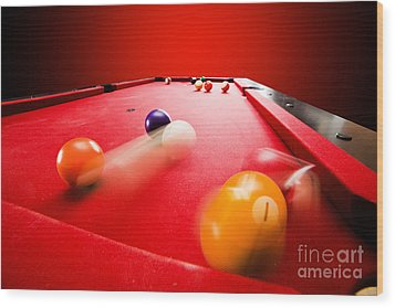 Billards Pool Game Wood Print by Michal Bednarek