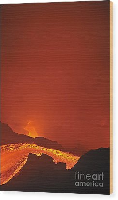 River Of Molten Lava Flowing To The Sea Wood Print by Sami Sarkis