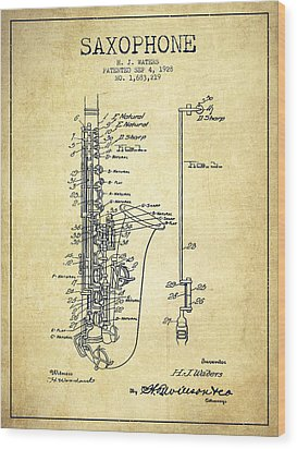 Saxophone Patent Drawing From 1928 Wood Print by Aged Pixel
