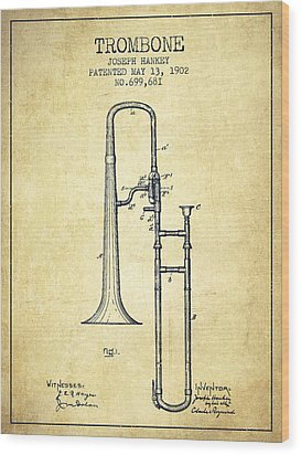 Trombone Patent From 1902 - Vintage Wood Print by Aged Pixel