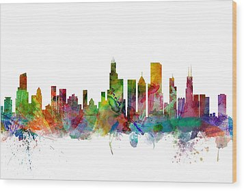 Chicago Illinois Skyline Wood Print by Michael Tompsett