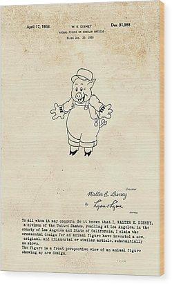 Disney Pig Patent Wood Print by Marlene Watson