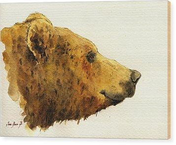 Grizzly Bear Wood Print by Juan  Bosco