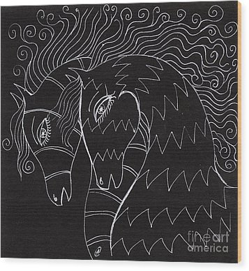 Horses Wood Print by Angel  Tarantella